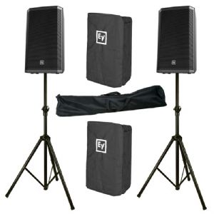 "2x EV Electro-Voice ZLX-15P 15"" 2000W Powered PA Speaker + Stand + Cover ZLX15P"